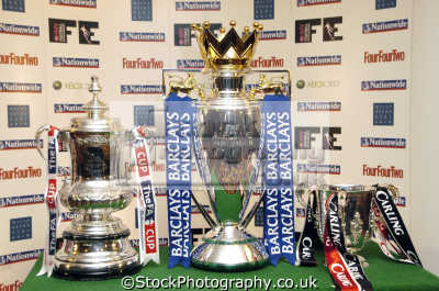 major british football trophies fa cup premiership trophy carling cup. soccer sports sporting uk silverware winners champions england english great britain united kingdom