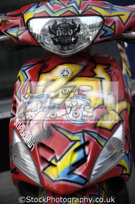 graffiti scooters thailand british motorcycles motorbikes transport transportation uk asia thai