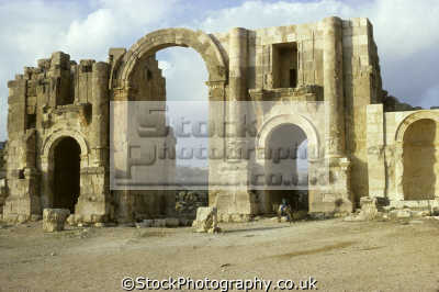 hadrian arch south gate jerash ancient gerasa arabia asia archeology archeological science misc. jordan middle east jordanian
