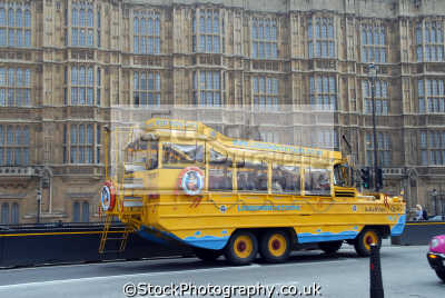 amphibious sightseeing vehicle used lonson. famous sights london capital england english uk westminster cockney great britain united kingdom british