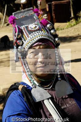 woman akha hill tribe people thailand tradtional headress. chiang rai north asian travel asia thai