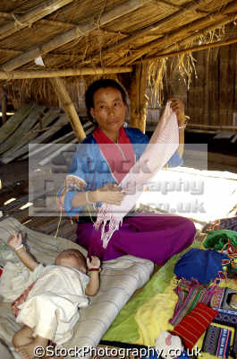 mother baby paduang hill tribe people thailand long neck indiginous asian travel asia thai