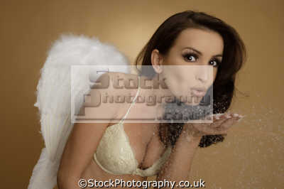 angel blowing snow cocaine angels divine angelic guardian costumes costumed people persons brunette brassiere