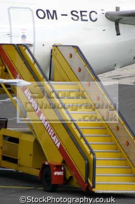 boarding steps aeroplane aircraft flying transport transportation uk airport bratislava