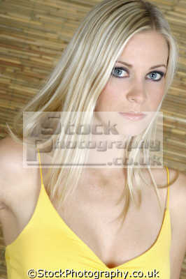 beautiful woman yellow dress faces visage people persons