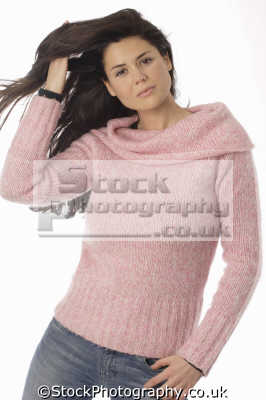 middle aged woman pink sweater blue jeans women prime menopause female females feminine womanlike womanly womanish effeminate ladylike people persons