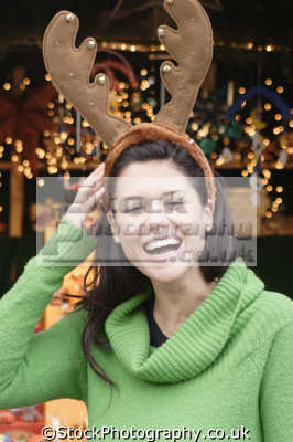 woman silly antlers costumes costumed people persons