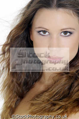 woman crimped hair brown eyes faces visage people persons