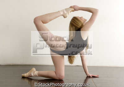 female ballet dancer showing suppleness double joints dancers ballerinas arts misc. leotard pose jointed