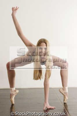 female ballet dancer dancers ballerinas arts misc. leotard pose tiptoe