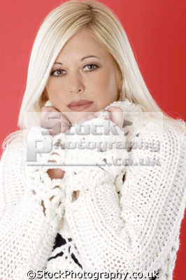 platinum blonde woman chunky knit sweater fashion haute couture chic designer people persons