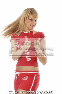 girl red sports outfit thumbs hand gestures non-verbal non verbal nonverbal communication body language people persons good affirmative