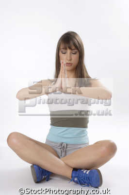yoga meditation pose enlightenment. karma bhakti jnana raja hatha relaxation posture physical exercise athletic aerobic anaerobic health fitness people persons cross legged