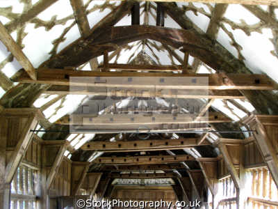 beams trusses ceiling little moreton hall cheshire uk historical buildings history british architecture architectural tudor half-timbered half timbered halftimbered timbre-framed timbre framed timbreframed oak panelled elizabethan moll flanders england english great britain united kingdom