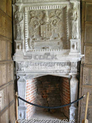slightly skewed fireplace hearth little moreton hall cheshire uk historical buildings history british architecture architectural tudor half-timbered half timbered halftimbered timbre-framed timbre framed timbreframed oak panelled elizabethan moll flanders england english great britain united kingdom