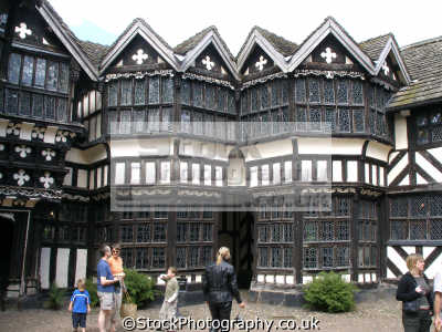 inner yard little moreton hall cheshire uk historical buildings history british architecture architectural tudor half-timbered half timbered halftimbered timbre-framed timbre framed timbreframed oak panelled elizabethan moll flanders england english great britain united kingdom