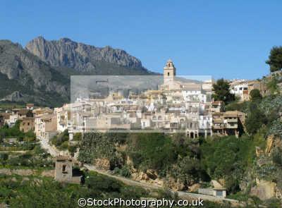 hilltop village polop near benidorm spain. costa blanca mediterranean murcia spanish espana european travel la nucia alicante spain spanien españa espagne spagna europe