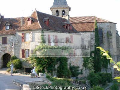 loubressac mediaeval hilltop village french buildings european travel church chapel bell steeple eglise belfry lot midi-pyrenees midi pyrenees midipyrenees france la francia frankreich europe