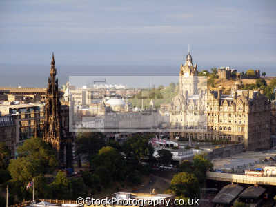 princes street firth forth late evening sun. scottish castles british architecture architectural buildings uk scott memorial caledonian calton hill observatory waverley edinburgh midlothian central scotland scotch scots escocia schottland great britain united kingdom