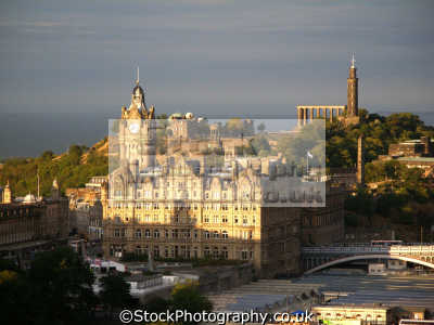 caledonian hotel calton hill edinburgh castle. scottish castles british architecture architectural buildings uk firth forth waverly sunset twilight observatory midlothian central scotland scotch scots escocia schottland great britain united kingdom