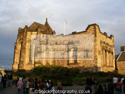 edinburgh castle setting sun. scottish castles british architecture architectural buildings uk chapel kirk sunset midlothian central scotland scotch scots escocia schottland great britain united kingdom