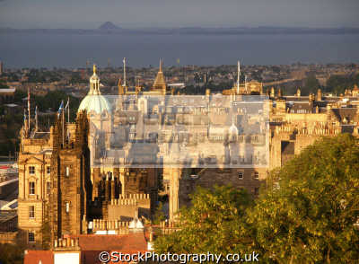 edinburgh setting sun castle. scottish castles british architecture architectural buildings uk bass rock firth forth midlothian central scotland scotch scots escocia schottland great britain united kingdom