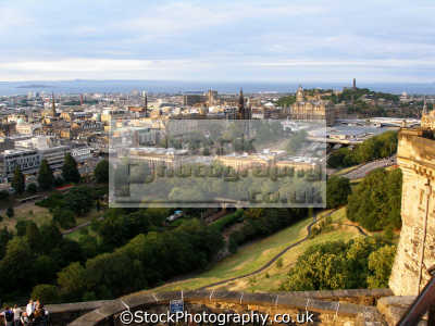 princes street firth forth edinburgh castle. scottish castles british architecture architectural buildings uk waverley scotland castle scott memorial caledonian midlothian central scotch scots escocia schottland great britain united kingdom