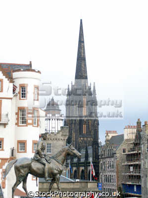 edinburgh royal mile statue earl haig. buildings architecture london capital england english uk castle esplanade midlothian central scotland scottish scotch scots escocia schottland great britain united kingdom british