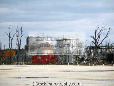 buncefield aftermath site explosion hertfordshire oil storage terminal december 11th 2006 environmental pollution warped tanks gasoline diesel melted disaster petrochemical catastrophe herts england english angleterre inghilterra inglaterra united kingdom british