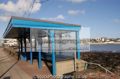 blue bus stop torquay buses transport transportation uk devon devonian england english great britain united kingdom british