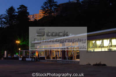 pier point cafe night uk commercial buildings retailers british architecture architectural torquay devon devonian england english great britain united kingdom