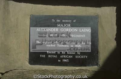plaque doorway timbuktu mali commemorate explorer major alexander gordon laing second west india regiment african archeology archeological travel cost life royal society sahara de... africa