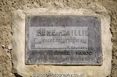plaque doorway timbuktu mali commemorate explorer ren cailli reached 1827 african archeology archeological travel sahara desert timbuktoo toumbouctou africa