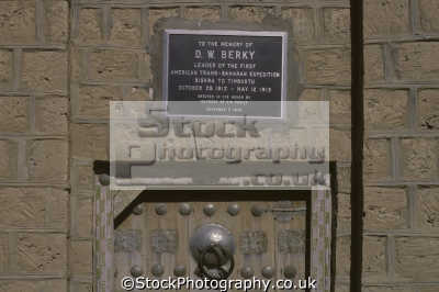plaque doorway timbuktu mali commemorate d. w. berky leader american trans-saharan trans saharan transsaharan expedition 1912-1913 1912 1913 19121913 african archeology archeological travel sahara desert timbuktoo toumbouctou africa