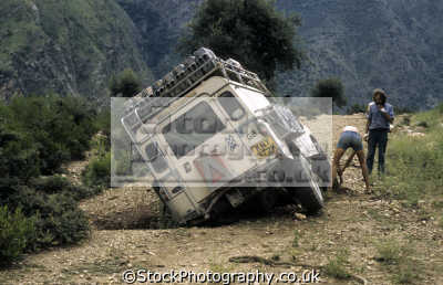 land rover ton series iia model ditch swat valley northwest pakistan off-road off road offroad motoring driving motor cars automobiles transport transportation uk asia hindu kush indian subcontinent pakistani