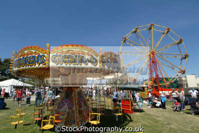 childrens chairs planes fairground ride carnival fairs leisure uk cornwall cornish england english great britain united kingdom british