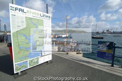 falmouth north quay. fal river links sign harbour harbor uk coastline coastal environmental cornwall cornish england english great britain united kingdom british