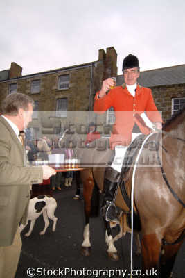 huntsman taking whisky local hotelier prior hunt fox hunting blood banned sports sporting uk traditional hospitality helston cornwall cornish england english great britain united kingdom british