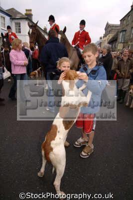 children petting hunting hound fox blood banned sports sporting uk helston cornwall cornish england english great britain united kingdom british
