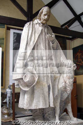 sculpture alfred lord tennyson dog watts gallery compton surrey uk statues british architecture architectural buildings george frederick guildford artist sculptor memorial bequest england english great britain united kingdom