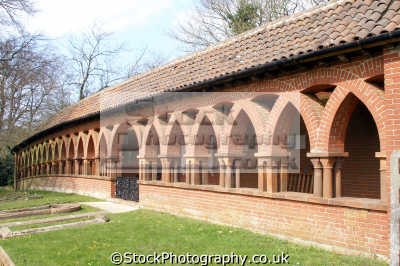 cloisters watts cemetery compton surrey uk churches worship religion christian british architecture architectural buildings brick arch column byzantine shelter remembrance england english great britain united kingdom