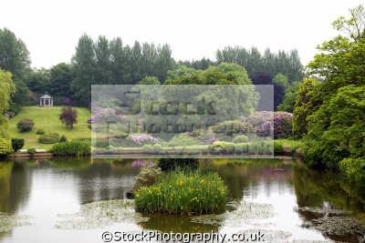 consall hall landscape gardens staffordshire moorlands. uk parks environmental lake gazebo irises rhododendrons azaleas staffs england english great britain united kingdom british