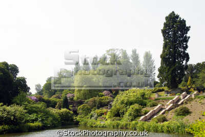 consall hall gardens staffordshire uk parks environmental lake steps irises spruce rhododendrons staffs england english great britain united kingdom british