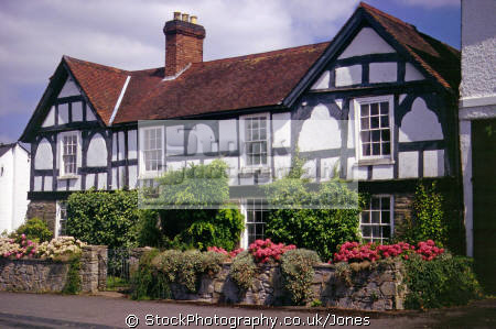 house market town weobley herefordshire. half timbered buildings historical uk history british architecture architectural tudor elizabethan half-timbered half timbered halftimbered frame cottage mediaeval herefordshire england english great britain united kingdom