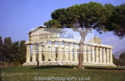 temple athena ceres paestum near salerno italy. southern italy italian european travel roman remains campania amalfi coast italien italia italie europe