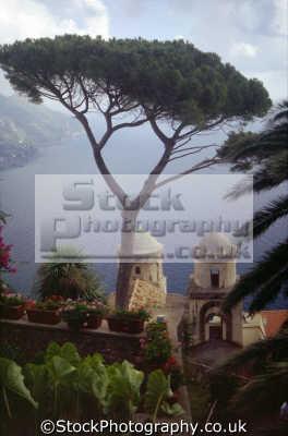 famous twin bell towers villa rufolo gardens ravello italy. southern italy italian european travel campania neopolitan napoli naples amalfi coast italien italia italie europe