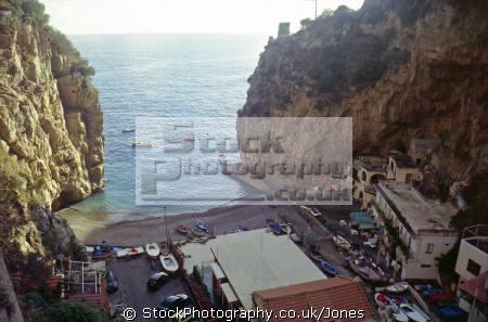 small beach praiano near amalfi costiera amalfitana. southern italy italian european travel sorrento campania neopolitan naples napoli coast italien italia italie europe