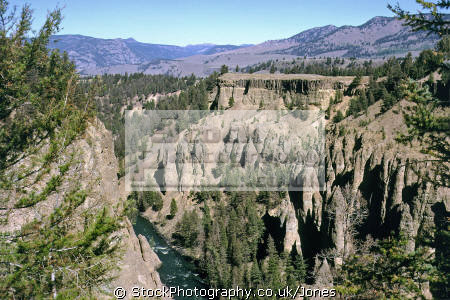 grand canyon yellowstone national park usa. geology geological science misc. columns erosion river np wyoming usa united states america american