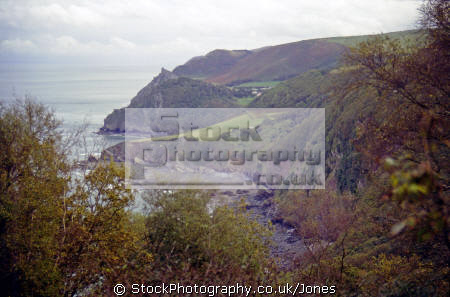looking woody bay castle rock valley rocks devon. uk coastline coastal environmental exmoor lynton lynmouth lee abbey devon devonian england english great britain united kingdom british
