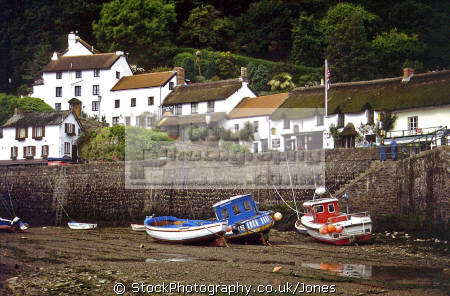 lynmouth harbour low tide. harbor uk coastline coastal environmental evening twilight sunset devon exmoor fishing devonian england english great britain united kingdom british